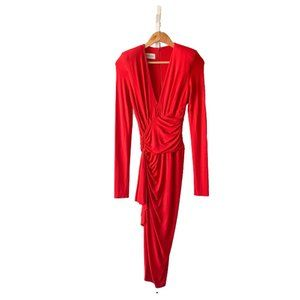 Alexandre Vauthier Deep V-neck Long Sleeve Dress